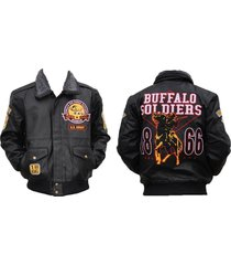 buffalo soldiers s4 mens leather jacket [xl - black]