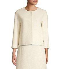 lurex knit collarless jacket