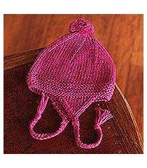 alpaca blend chullo hat, 'cozy fuchsia' (peru)