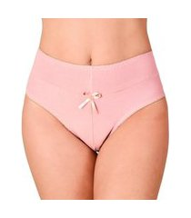calcinha vip lingerie cintura alta algodáo rosa