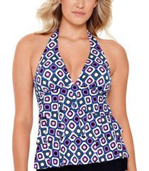 swim solutions jewels tiered halter tankini top, created for macy's women's swimsuit