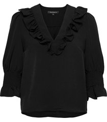 crepe light ruffle blouse blus långärmad svart french connection