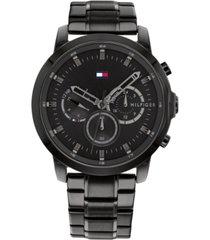 tommy hilfiger men's black stainless steel bracelet watch 46mm