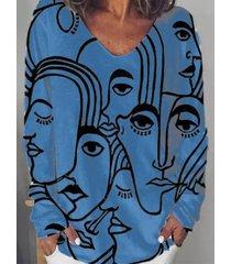 camicetta a maniche lunghe con scollo a v con stampa di figure plus