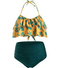 cactus print flounce ruched plus size halter bikini swimsuit