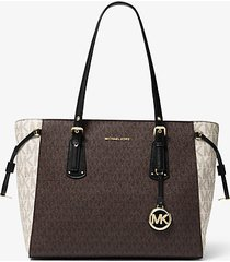 mk borsa tote voyager media con logo color block - brown multi - michael kors