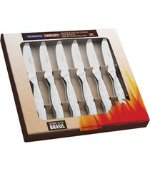 conjunto de facas de serra para churrasco tramontina aço inox 6 peças
