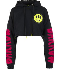 woman black cropped hoodie with logo