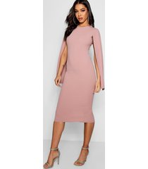 cape sleeve bodycon midi dress, rose