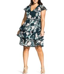 plus size women's city chic fresh fields floral print dress