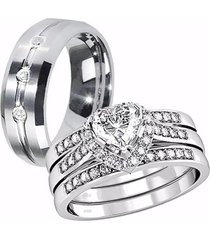 her sterling silver heart aaa cz his tungsten engagement wedding ring band set