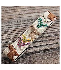 wool headband, 'llama procession' (peru)
