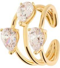 anello trilogy in ottone dorato regolabile con zirconi per donna