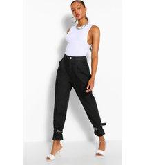 oversized mom jeans met gesp, gewassen zwart