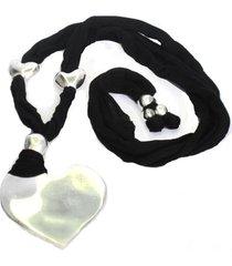 collar de mujer plateado jersey negro coeur battu by vestopazzo