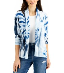 style & co petite cotton tie-dyed open-front cardigan, created for macy's