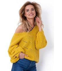 sweter ażurowy z dekoltem v