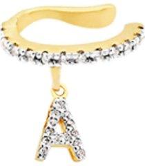 brinco piercing personalizado com letra cravejadas banhado a ouro 18k