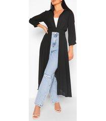 geweven maxi blouse met knopen, zwart