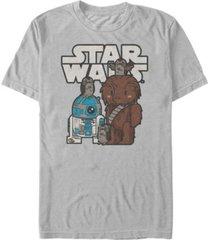 star wars men's cute cartoon chewie r2-d2 porg friends short sleeve t-shirt