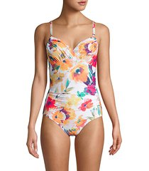 floral-print 1-piece swimsuit