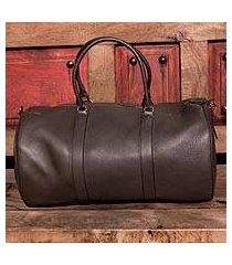 leather travel bag, 'journeys in brown' (mexico)