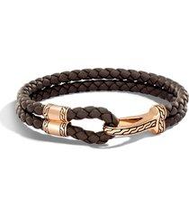 men's john hardy classic double leather chain bronze hook bracelet