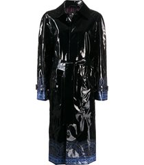 etro paisley-trim patent trench coat - black