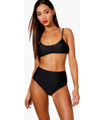 petite strappy high waisted bikini, black