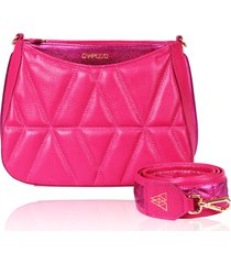 bolsa tiracolo de couro dayana rosa pink matelasse - tricae