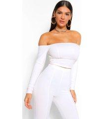bardot long sleeve corset top, white