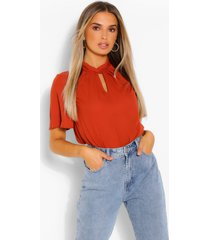 knot front blouse with angel sleeves, rust