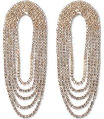 inc gold-tone rhinestone chain loop statement earrings, created for macy's