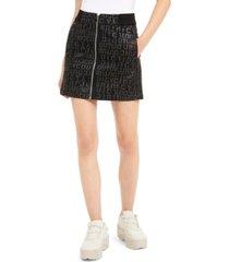 juicy couture juniors' logo-printed denim mini skirt
