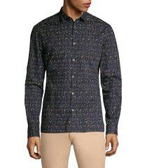 john varvatos men's fulton slim-fit printed sport shirt - navy - size l