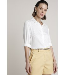 camisa feminina animal print onça manga longa off white