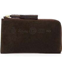 three-in-one tassel suede zip around wallet