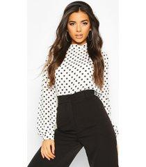 polka dot high neck blouse, white
