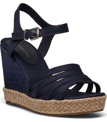 tommy gradient high wedge sandal sandalette med klack espadrilles blå tommy hilfiger