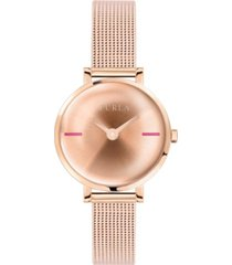 furla women's mirage rose gold dial stainless steel watch