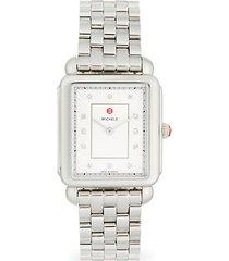 deco ii stainless steel, mother-of-pearl & diamond bracelet watch