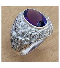 amethyst men's ring, 'benevolent barong' (indonesia)