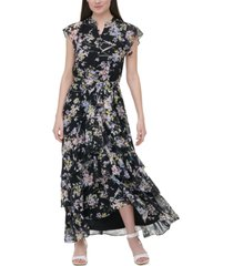 calvin klein printed flounce dress