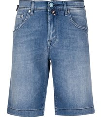 jacob cohen straight leg denim shorts - blue