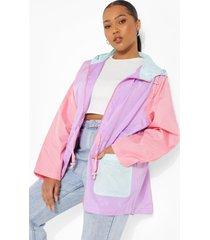 plus colour block festival regenjas, lilac