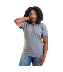 camisa polo feminina plus size piquet 96234