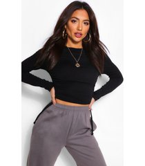 crew neck ruched side long sleeved top, black