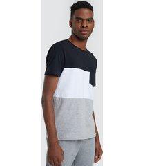 camiseta para hombre bloques y bolsillo color negro, talla l