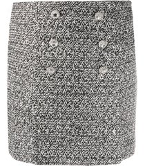 alessandra rich crystal-button tweed skirt - silver