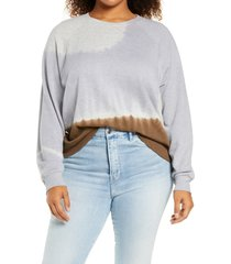 treasure & bond tie dye colorblock organic cotton blend sweatshirt, size 3x in blue feather- brown combo at nordstrom